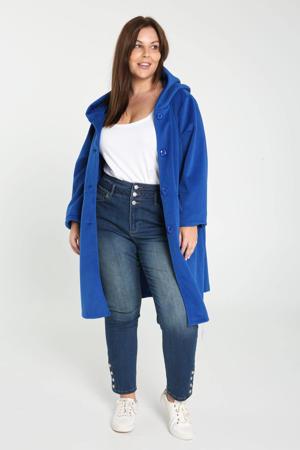 halflange coat met capuchon blauw