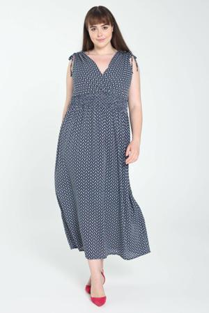 jurk met all over print en plooien blauw