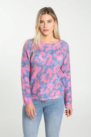 gebloemde gebreide trui paars/roze