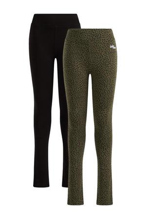 legging - set van 2 groen/zwart