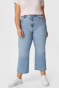 C&A XL Clockhouse cropped high waist straight fit jeans lichtblauw, Lichtblauw