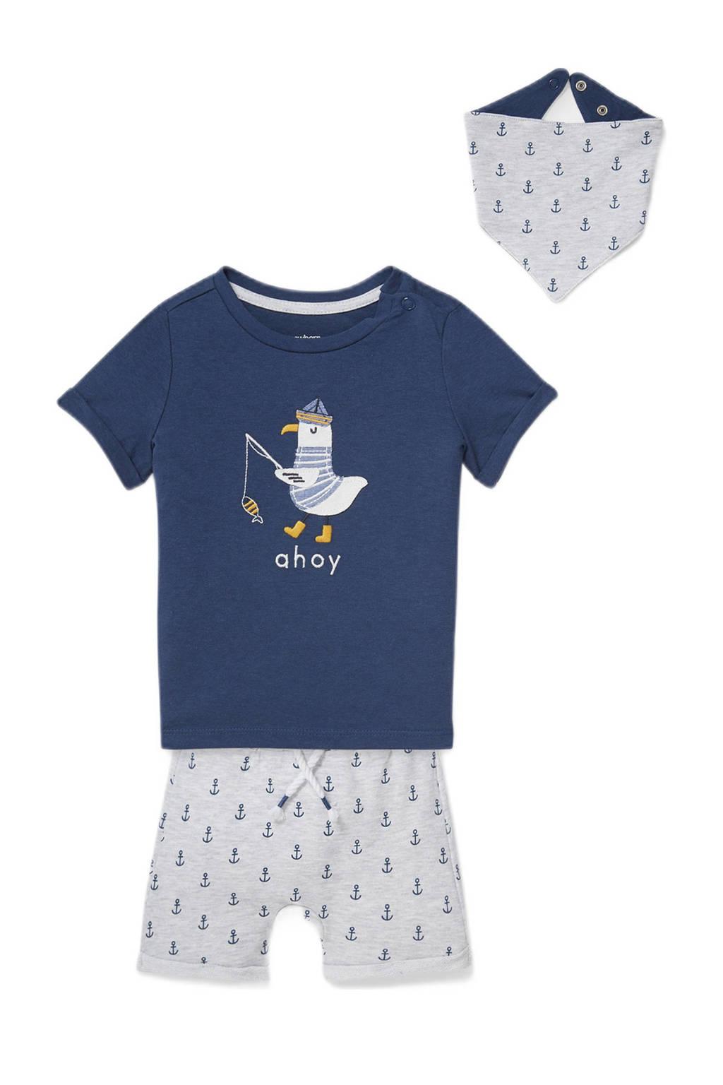 C&A Baby Club T-shirt + korte broek + bandana blauw/wit, Donkerblauw/wit