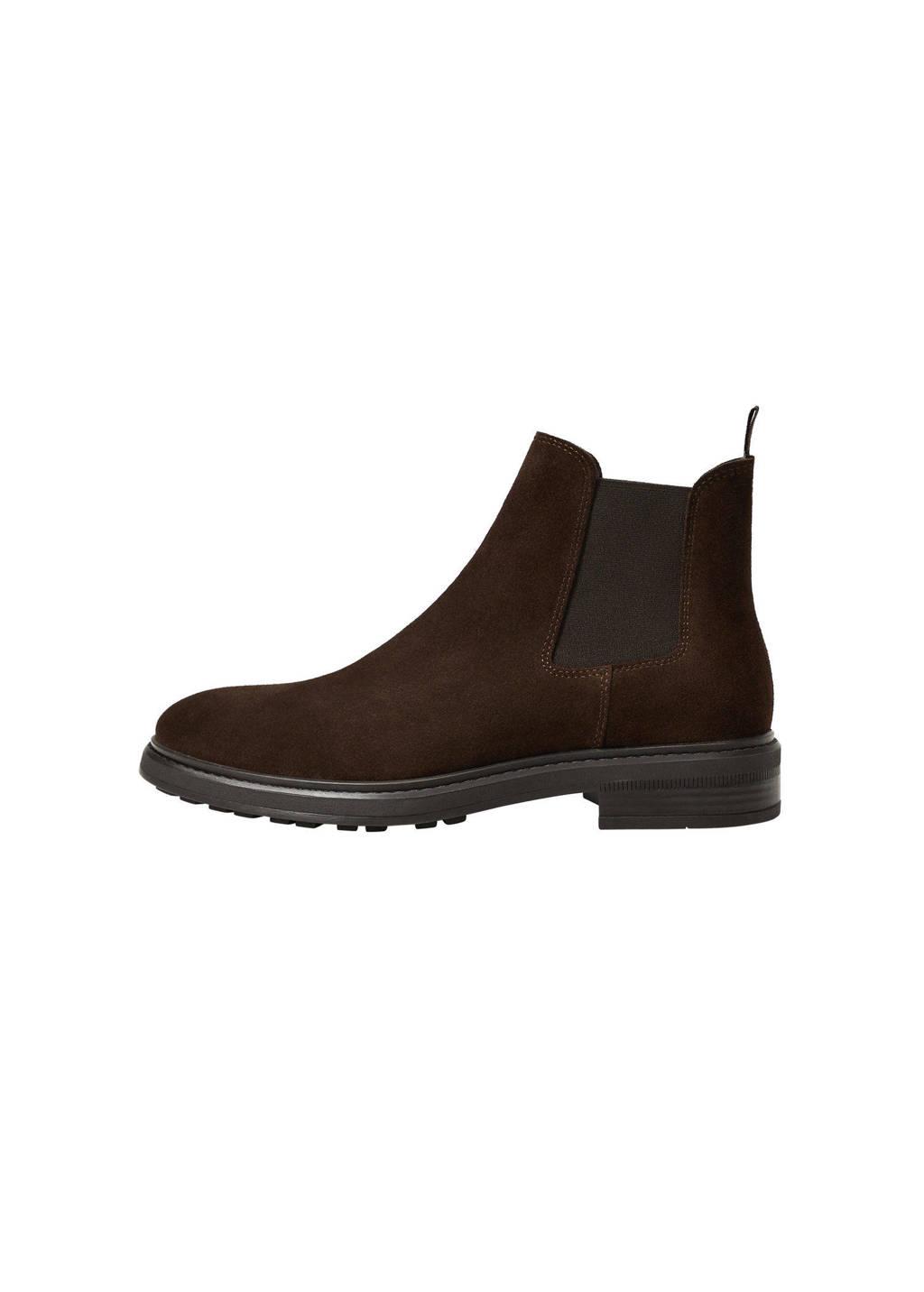 Mango Man   suède chelsea boots donkerbruin, Donkerbruin