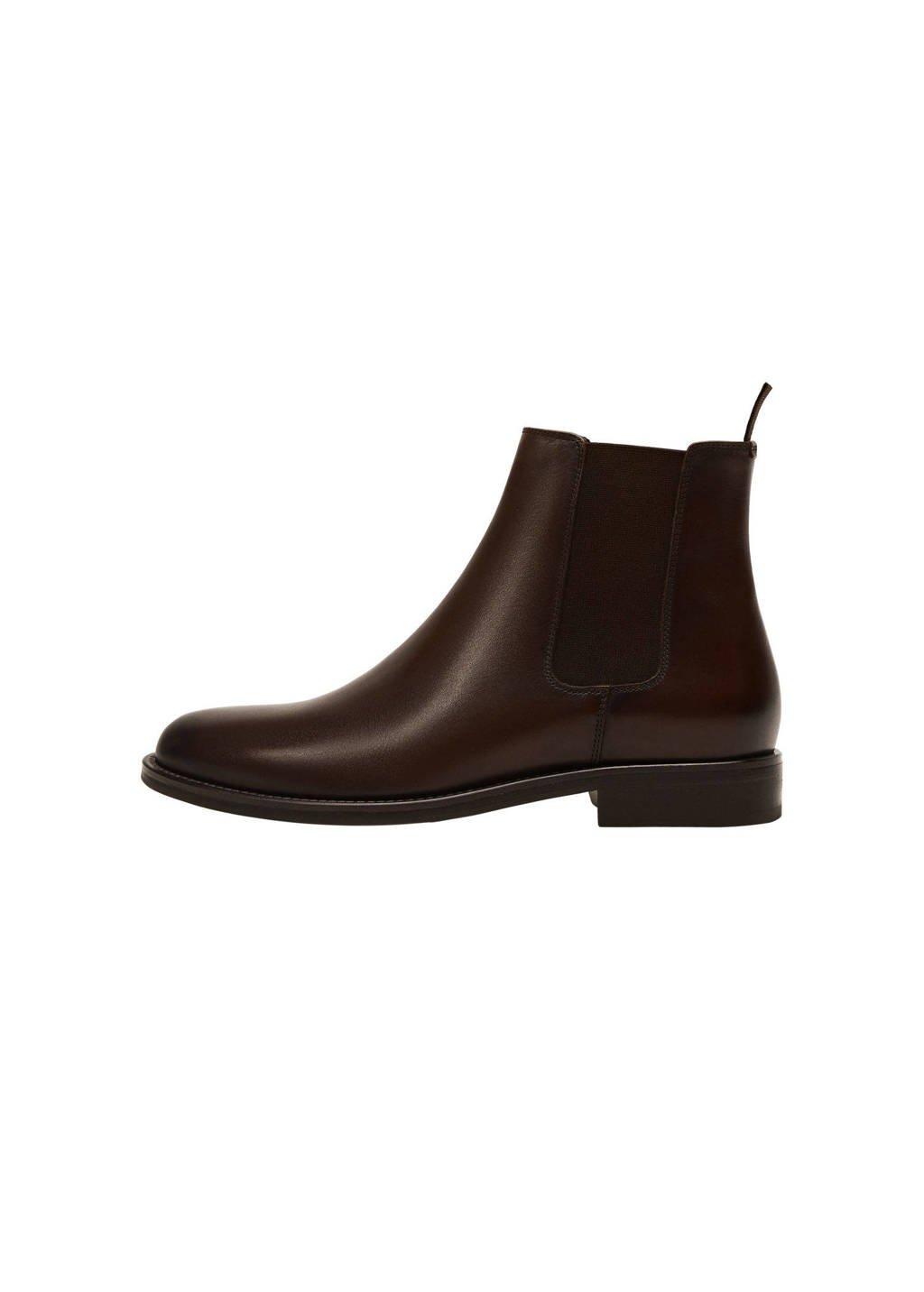 Mango Man   leren chelsea boots donkerbruin, Donkerbruin
