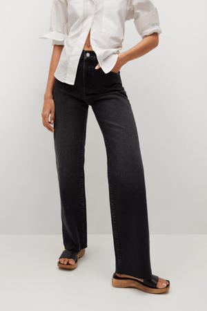 high waist jeans wide leg in washed black denim