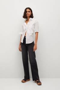Mango high waist jeans wide leg in washed black denim, Washed black denim