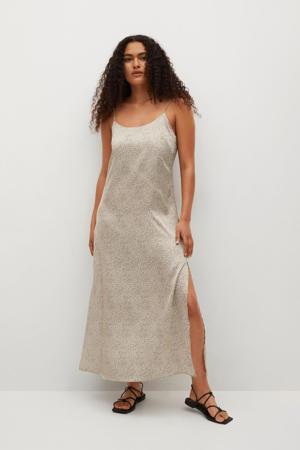 jurk met all over print lichtbeige