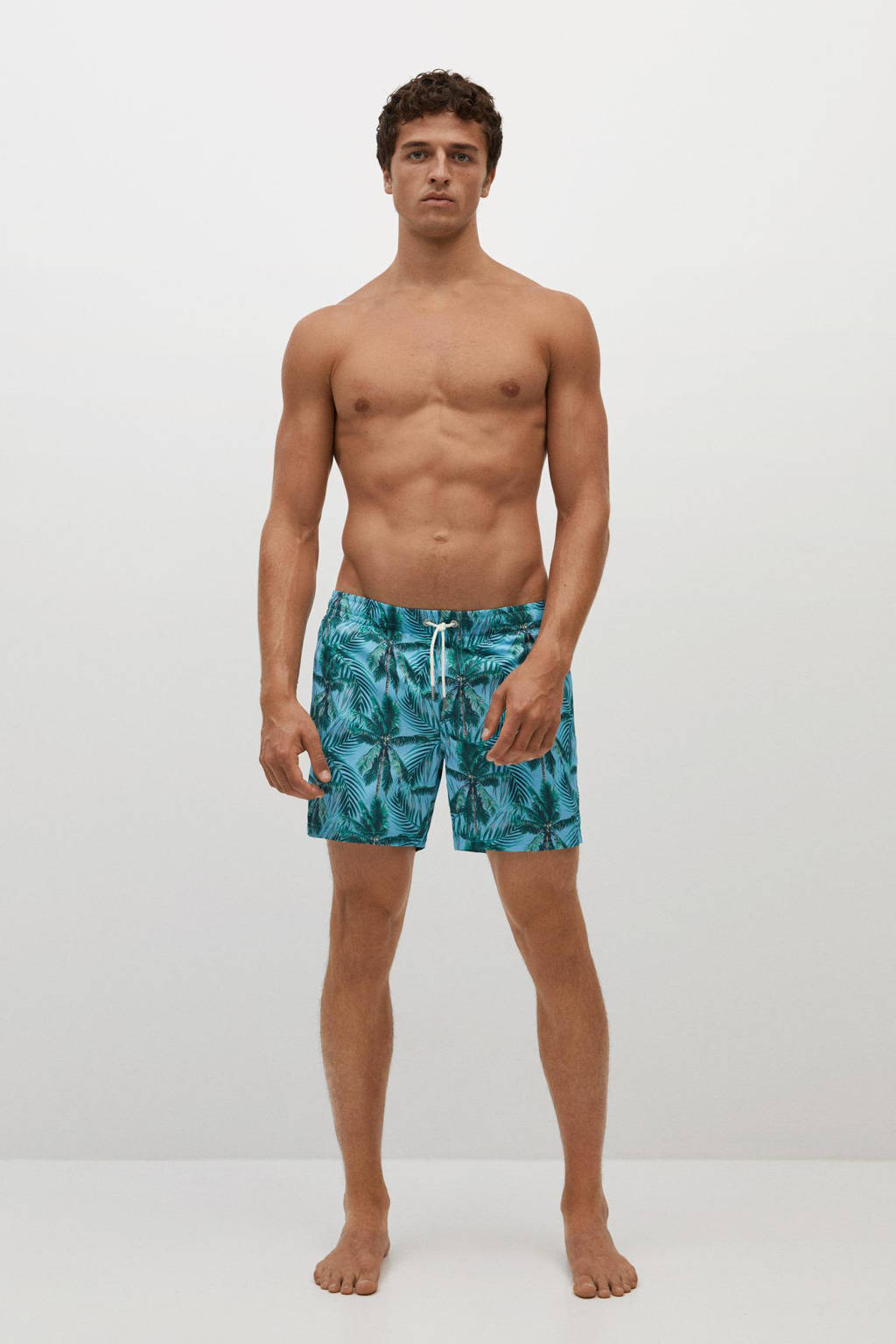 Mango Man zwemshort met palmboom print turquoise, Turquoise