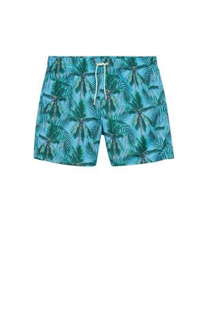 zwemshort met palmboom print turquoise