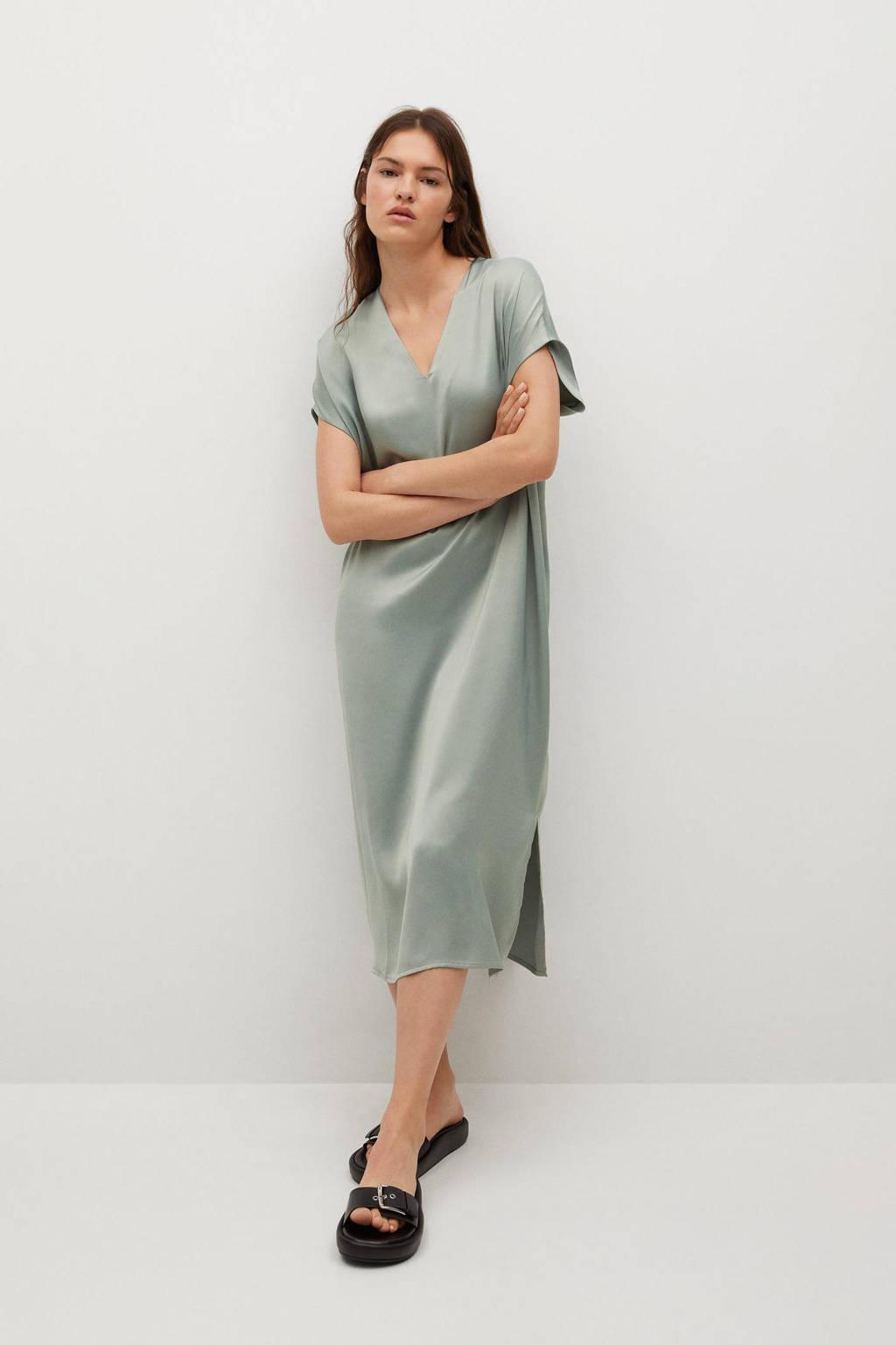 Mango jurk in satijn lichtgroen, Lichtgroen