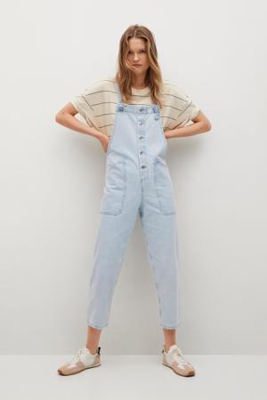 straight fit tuinbroek changeant blauw
