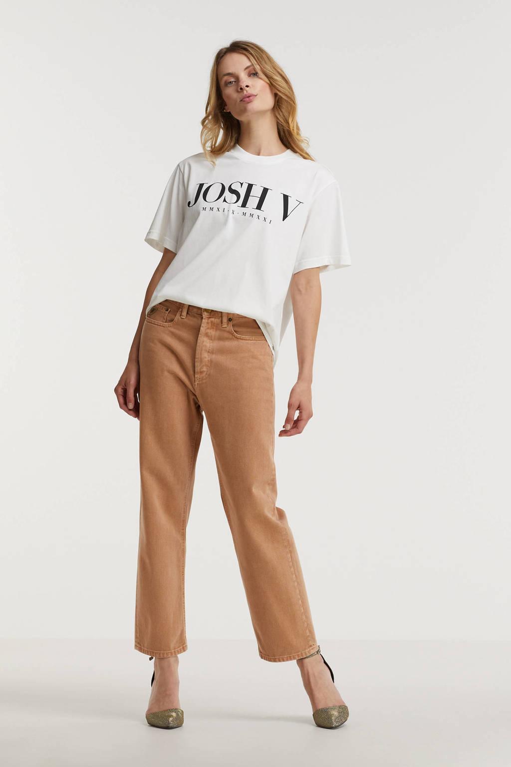 JOSH V T-shirt Teddy Anniversary met logo gebroken wit, Gebroken wit