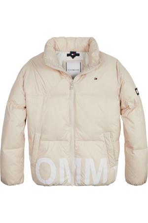 gewatteerde jas met logo beige
