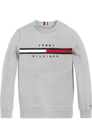 ribgebreide sweater met logo lichtgrijs melange