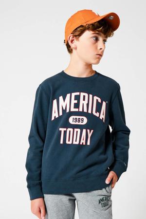 sweater Simon met tekst marine