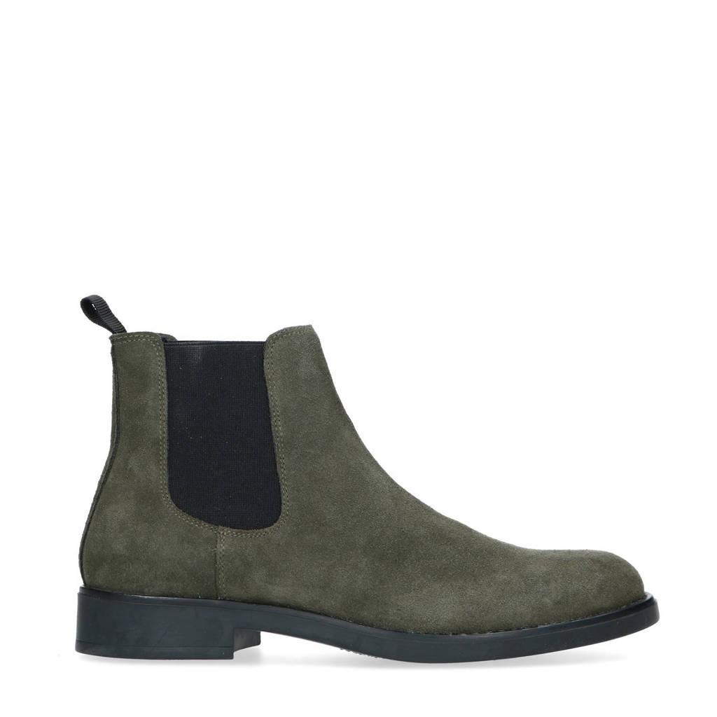 Sacha   suède chelsea boots kaki, Groen/Kaki