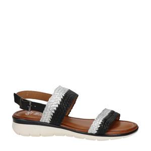 Kreta  gevlochten leren sandalen zwart/zilver
