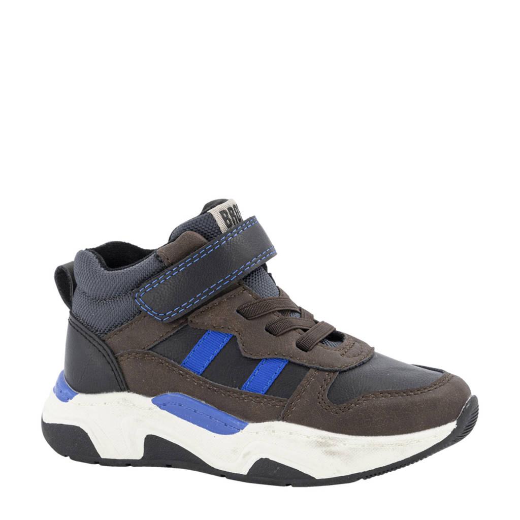 Bobbi-Shoes   hoge sneakers bruin/blauw, Bruin/blauw