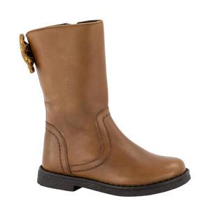 leren laarzen met sierstrik bruin