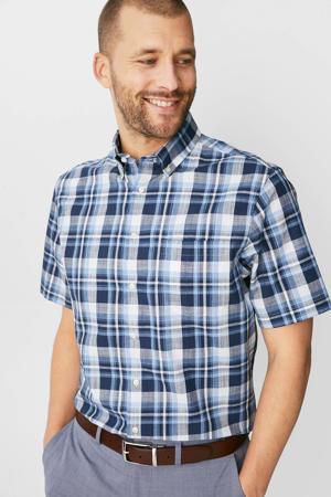 geruite regular fit overhemd donkerblauw