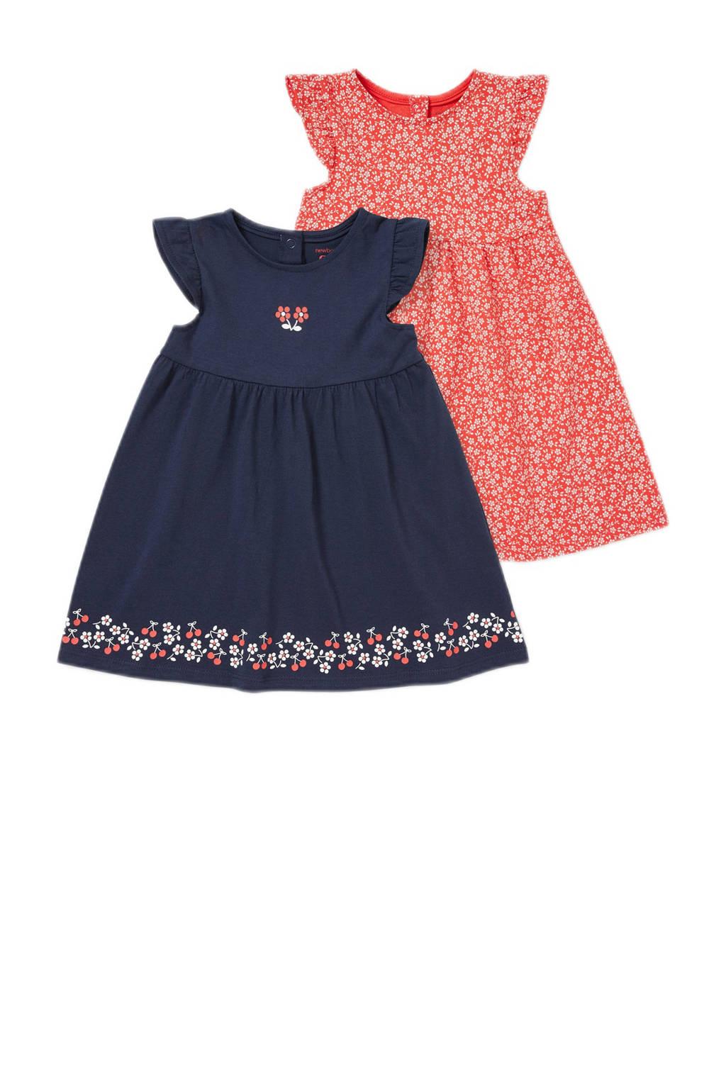 C&A Baby Club jurk - set van 2 rood/blauw, Rood/blsuw