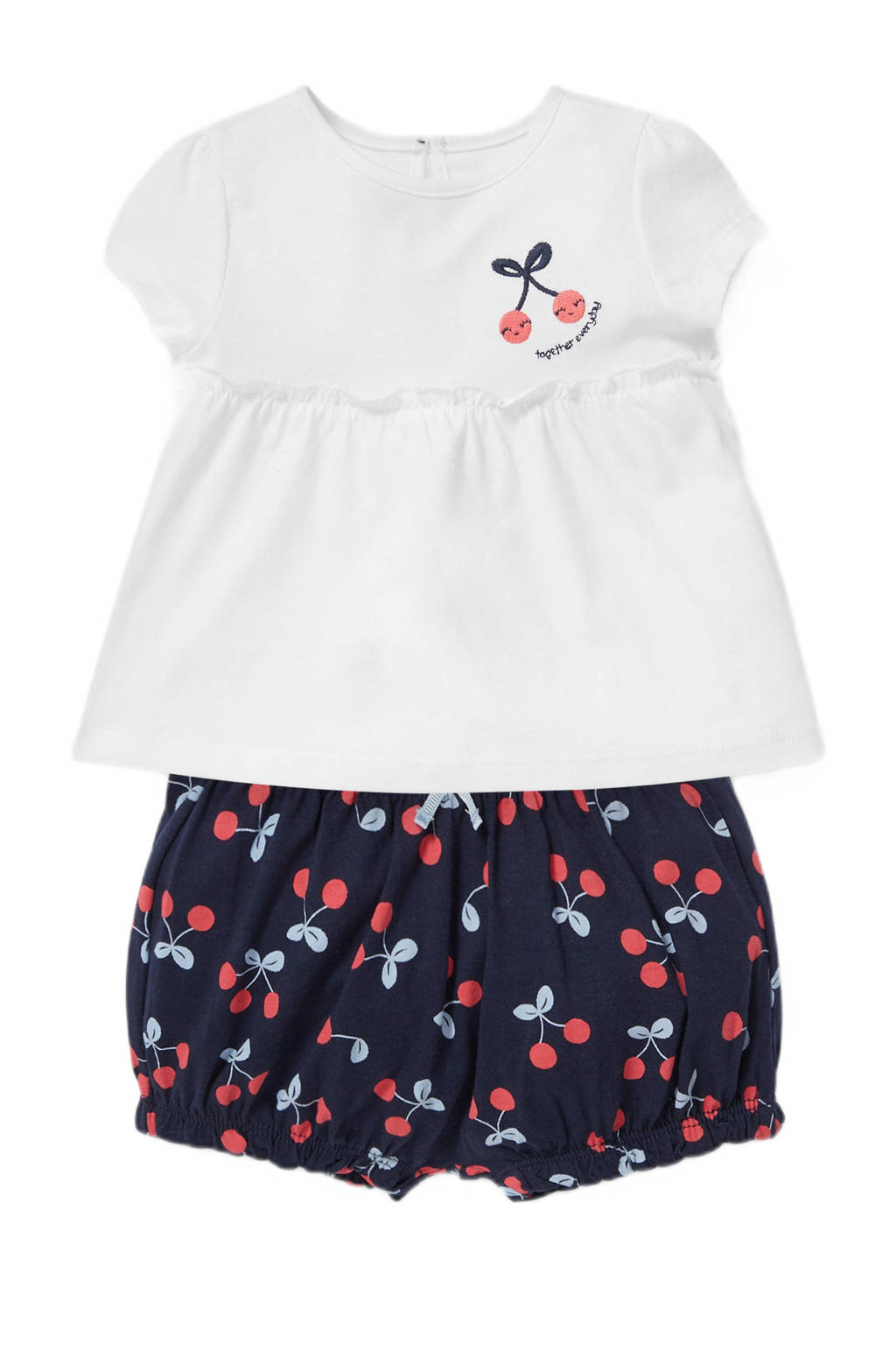 C&A Baby Club T-shirt + short wit/donkerblauw, Wit/donkerblauw