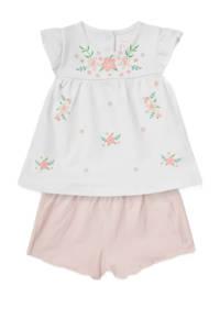 C&A Baby Club top + short met bloemenprint offwhite/roze, Offwhite/roze
