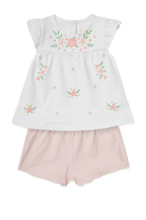 top + short met bloemenprint offwhite/roze