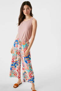 C&A cropped wide leg culotte met paisleyprint roze/blauw/turquoise, Roze/blauw/turquoise