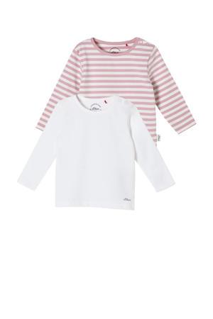 longsleeve - set van 2 wit/roze