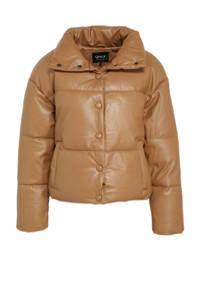 ONLY coated gewatteerde jas ONLLYDIA bruin, Bruin
