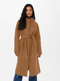 ONLY coat ONLEMMA met ceintuur bruin, Bruin