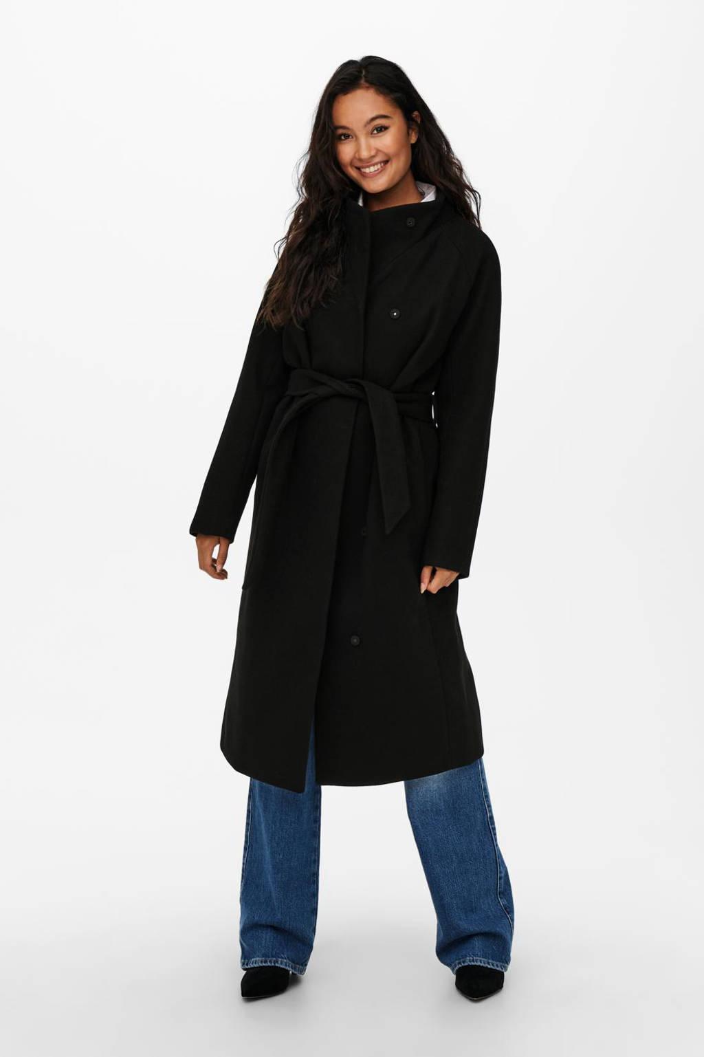 ONLY coat ONLEMMA met ceintuur zwart, Zwart