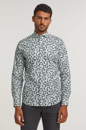 regular fit overhemd met all over print wit/grijs