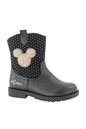 Minnie Mouse  enkellaarzen met glitters zwart