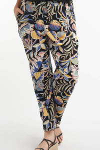 MS Mode straight fit harembroek met all over print donkerblauw, Multi