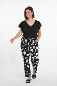 MS Mode harembroek met bloemenprint zwart/ wit