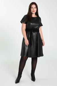 Paprika imitatieleren A-lijn jurk zwart, Zwart