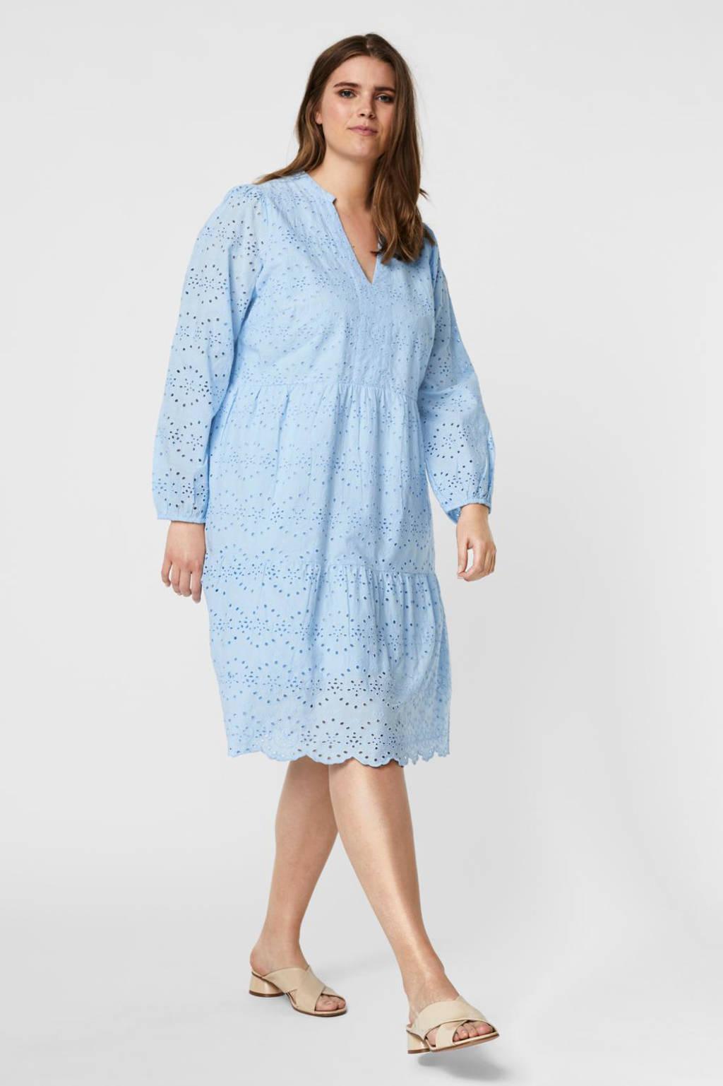 VERO MODA CURVE A-lijn jurk VMNICE met volant lichtblauw, Lichtblauw