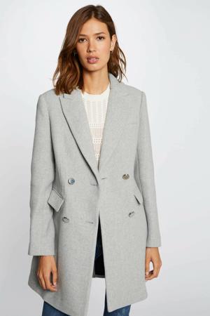 coat met wol lichtgrijs melêe