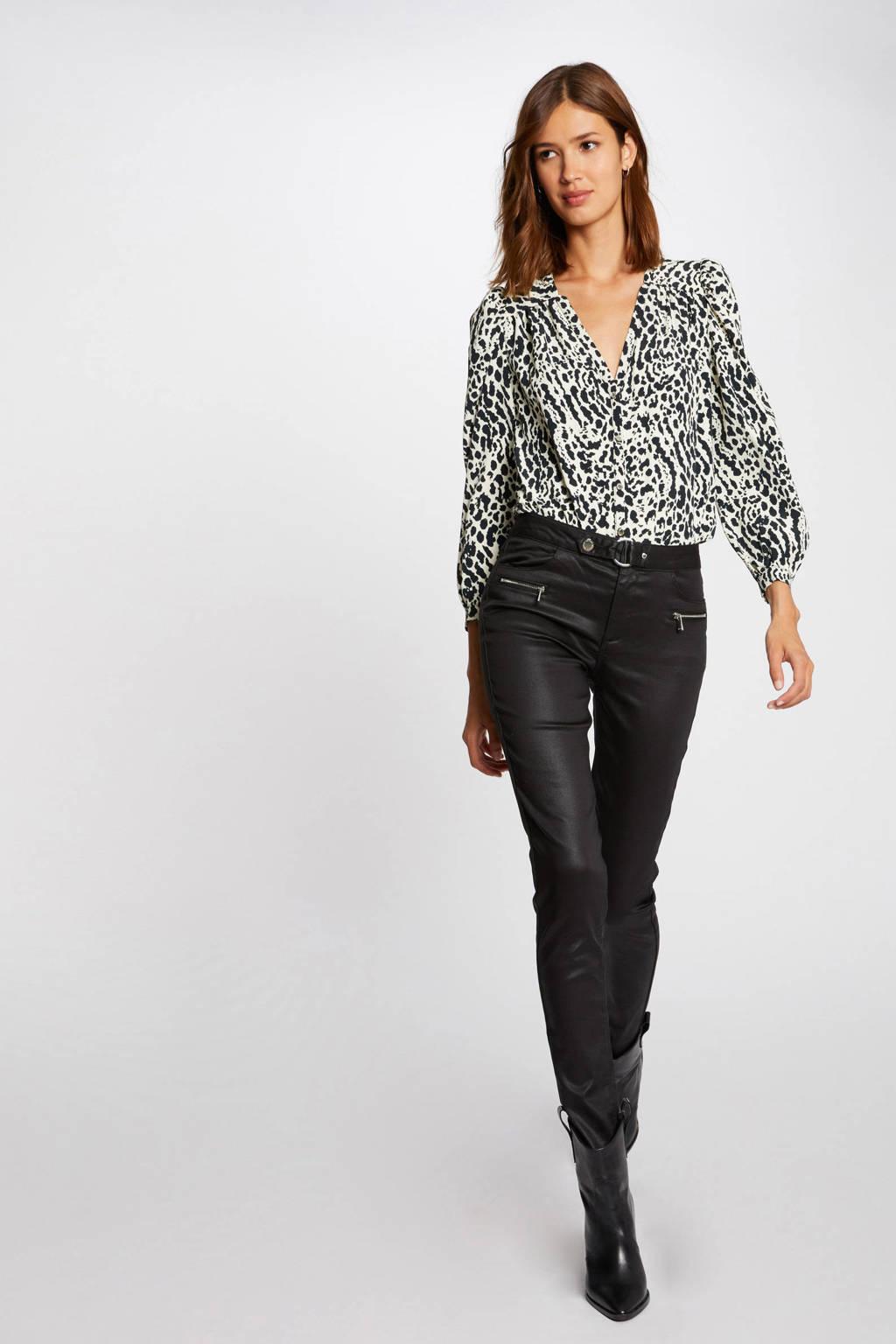Morgan coated skinny broek zwart, Zwart