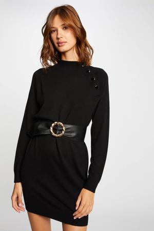 fijngebreide jurk met ceintuur zwart