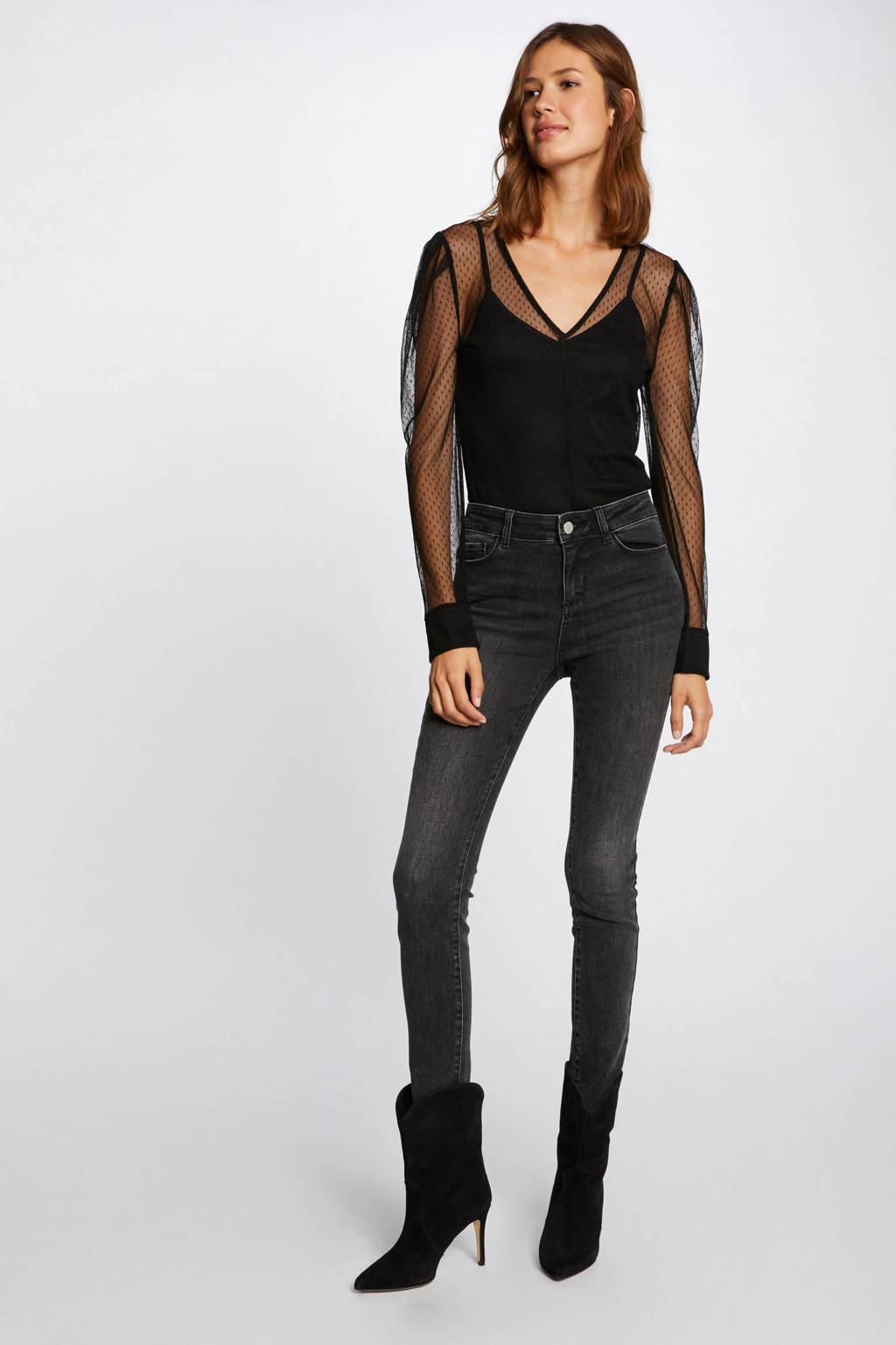 Morgan semi-transparante top met stippen zwart, Zwart