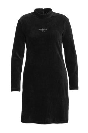 corduroy jurk met borduursels zwart/wit