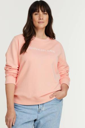 sweater van biologisch katoen lichtroze/wit