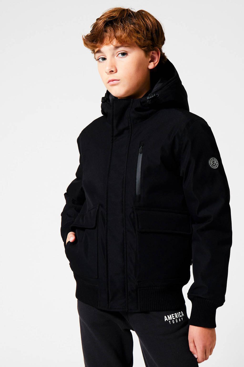 America Today Junior gewatteerde winterjas Jesse zwart, Zwart