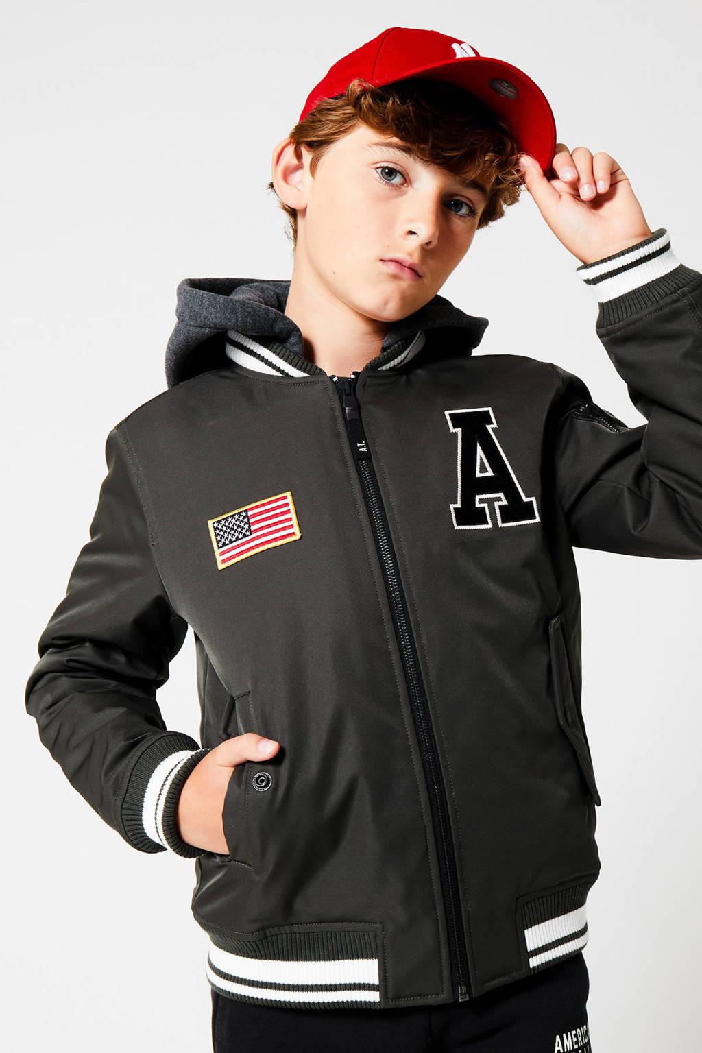 America Today Junior baseball jacket Joey met capuchon army groen, Army groen