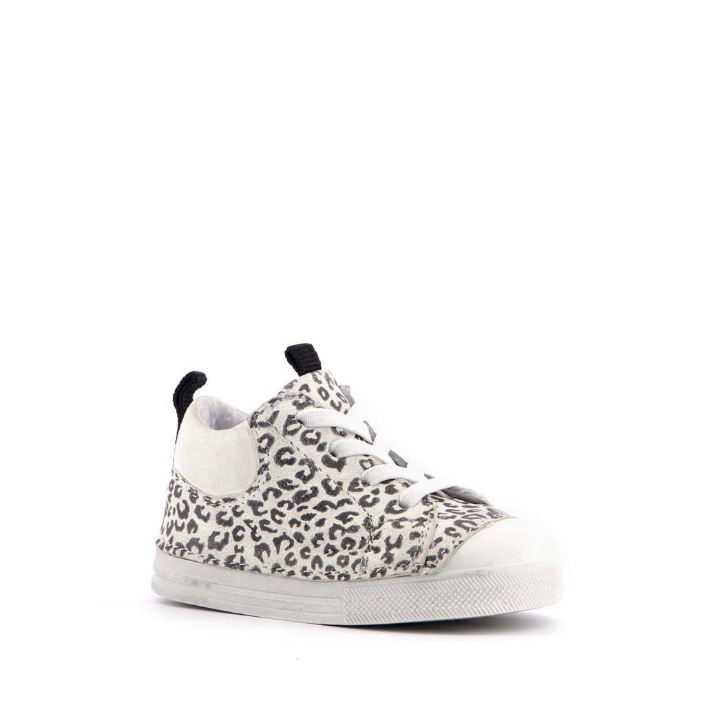 Scapino Groot   leren babyschoenen met panterprint wit, Wit/zwart