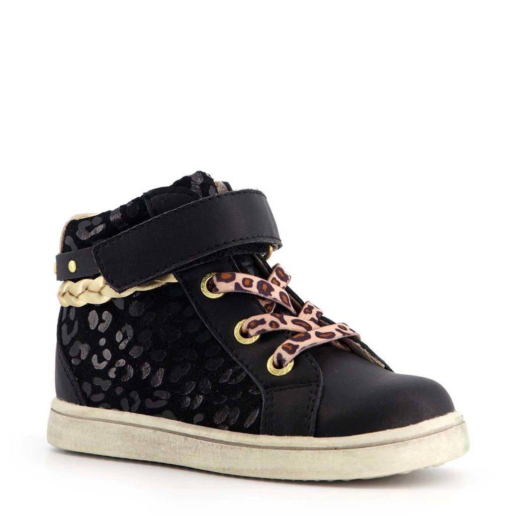 Scapino TwoDay   sneakers met panterprint zwart/goud, Zwart/goud