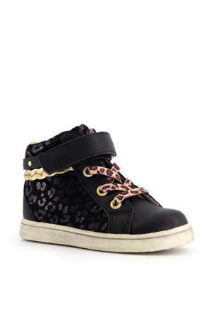 sneakers met panterprint zwart/goud